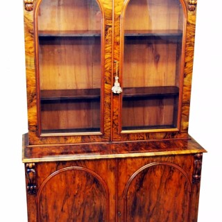 Victorian English Burr Walnut Library Bookcase Antique