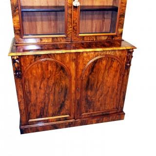 Victorian English Burr Walnut Library Bookcase Antique