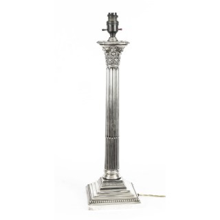 Antique Edwardian Sterling Silver Corinthian Column Table Lamp Dated 1914