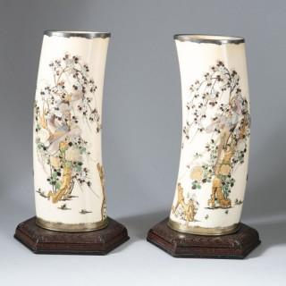PAIR OF JAPANESE MEIJI SHIBAYAMA TUSK VASES