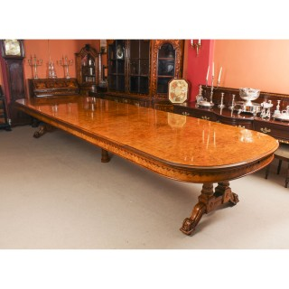 Antique 16ft Victorian Pollard Oak Dining Table 19th Century