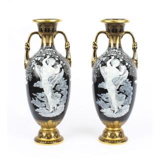 Antique Stunning Pair Sevres 'Pate Sur Pate' Porcelain Vases 19th Century