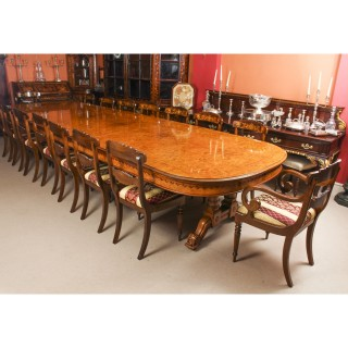 Antique Pollard Oak Victorian Dining Table 19th C & 16 Bespoke Chairs
