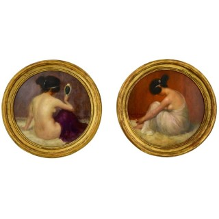 Art Nouveau Pair Of Circular Oil Paintings With Nudes