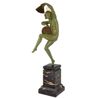 Art Deco bronze sculpture nude dancer with fan and hat