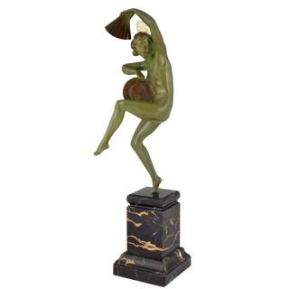 Art Deco bronze sculpture nude dancer with fan and hat