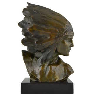 Art Deco bronze bust of an Indian with headdress