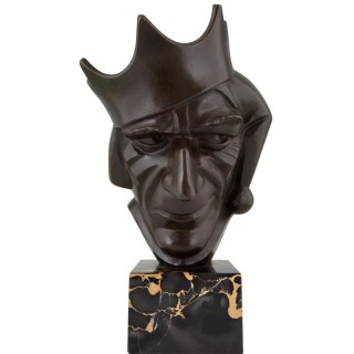 Art Deco bronze sculpture court jester with crown
