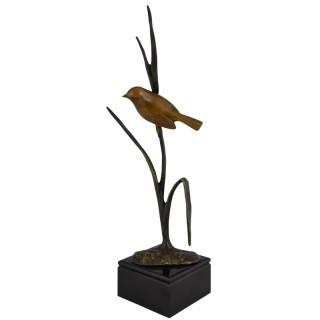 Art Deco bronze sculpture bird on a branch