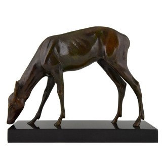 Art Deco bronze sculpture of a female deer
