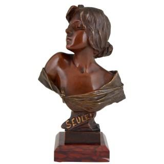 Seule Art Nouveau bronze bust of a woman