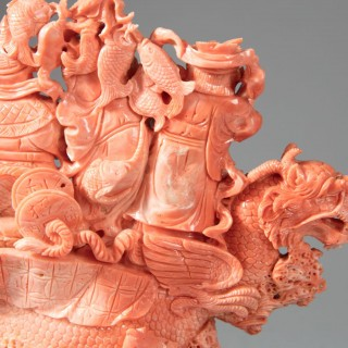 RARE CHINESE CARVED PRECIOUS CORAL GROUP