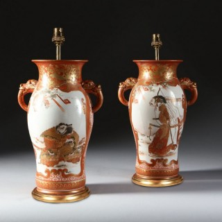 PAIR OF JAPANESE ORANGE & GOLD ON WHITE GLAZE SAMURAI VASES AS TABLE LAMPS
