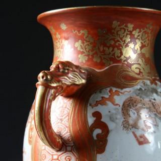 PAIR OF JAPANESE ORANGE & GOLD ON WHITE GLAZE SAMURAI VASES AS TABLE LAMPS