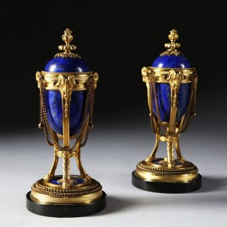 PAIR OF NAPOLEON III LAPIS LAZULI AND ORMOLU CASSOULETS