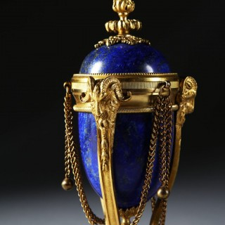 PAIR OF NAPOLEON III LAPIS LAZULI AND ORMOLU CASSOULETS