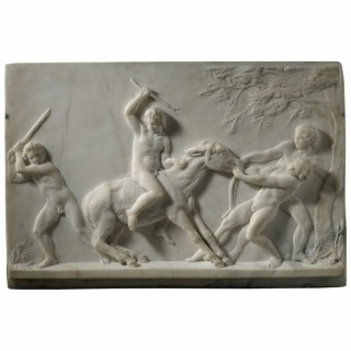 CARLO UBOLDI – MARBLE RELIEF OF BOYS PLAYING WITH A DONKEY