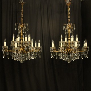 Italian Pair Gilded 10 Light Antique Chandeliers