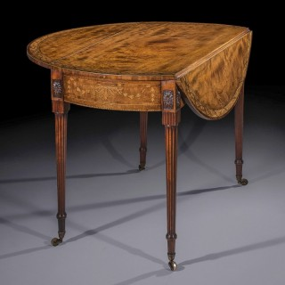 George III Sabicu & Marquetry Oval Table attributed to Chippendale Junior