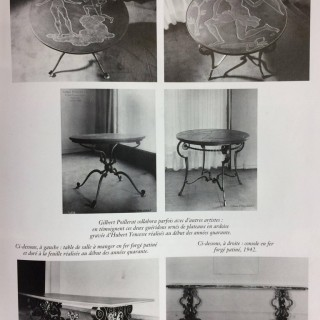 GILBERT POILLERAT GILT IRON AND STONE TABLE