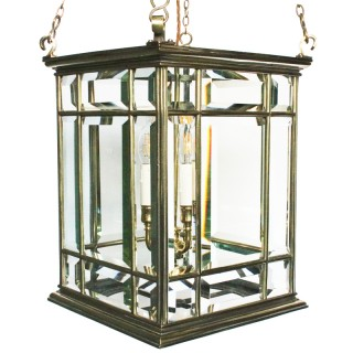 Large cast brass early 19th century antique four light hall lantern of square form