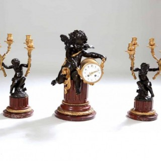 GILT BRONZE, BRONZE AND MARBLE CLOCK SET GARNITURE