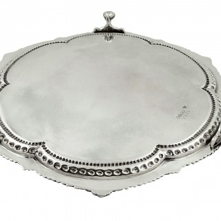 Antique Victorian Sterling Silver Tray / Salver 1879