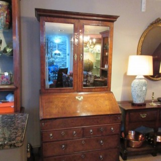 Stunning William & Mary Period  Walnut Bureau Bookcase