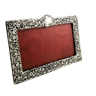 Antique Victorian Sterling Silver 'Landscape' Photo Frame 1895
