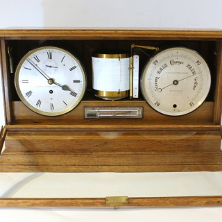 Early English self-recording Display Barometer & Clock