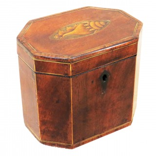 18th Century Mahogany Octagonal Shaped Antique Tea Caddy