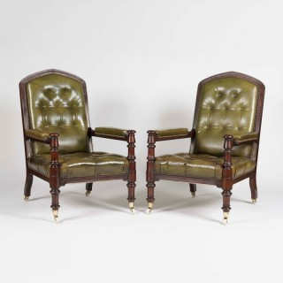 A Pair of Library Armchairs of the Late Georgian Period