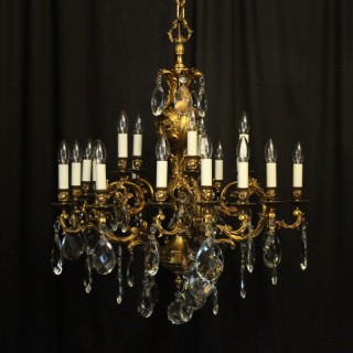 Italian Gilt Bronze 20 Light Antique Chandelier