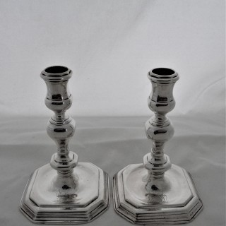 Superb pair cast and crested Queen Anne Britannia silver candle sticks David Willaume
