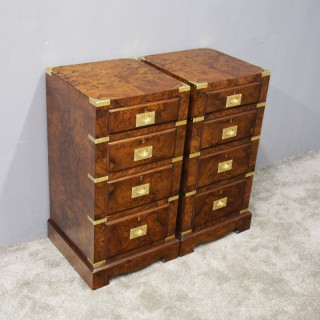 Pair of Burr Walnut Military Style Bedsides or Chest of Drawers