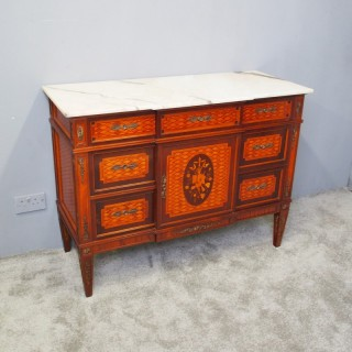 French Inlaid Walnut and Satin Birch Commode