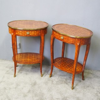 Pair of French Oval Parquetry Kingwood Occasional Tables
