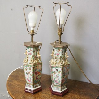 Pair of Canton Famille Rose and Verte VasesPair of Canton Famille Rose and Verte Vases