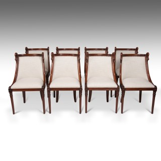Set of 8 French 19th C Empire Style Barrel Back Dining Chairs