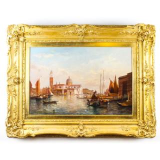 Antique Oil Painting San Giorgio Maggiore Venice Alfred Pollentine 19th C