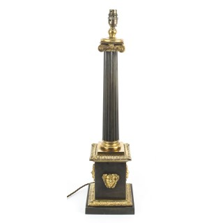 Antique French Empire Period Corinthian Column Table Lamp 19th C