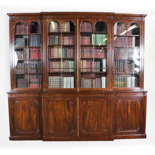 Antique Regency Flame Mahogany Four Door Breakfront Bookcase 19th C
