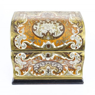 Antique Gilt Brass Inlaid Fall Front Stationery Casket c.1860