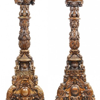 Pair of Anglo Indian carvedwood Torchas