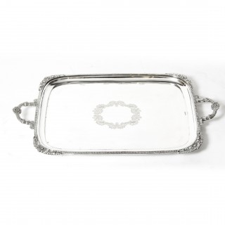 Antique Large Edwardian Silver Plated Twin Handled Tray C 1910