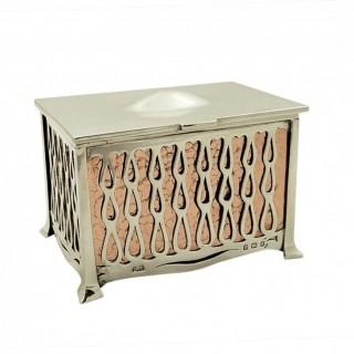 Antique Arts & Crafts Sterling Silver & Copper Trinket Box 1910