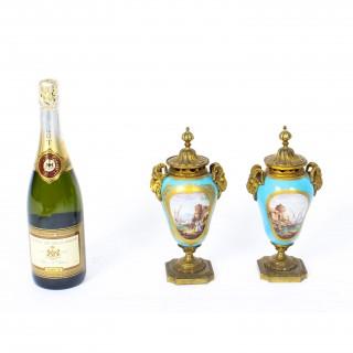 Antique Pair Bleu Celeste Sevres Porcelain Gilt Bronze Lidded Urns 19th C