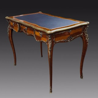 Antique French Kingwood and Ormolu Bureau Plat or Writing Desk