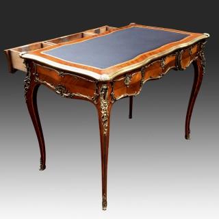 Antique French Kingwood and Ormolu Bureau Plat or Writing Desk