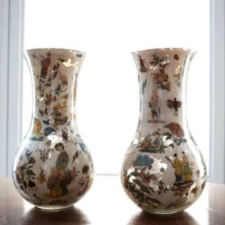 PAIR OF DECALCOMANIA GLASS VASES